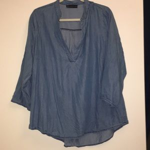 Chambray Tunic w/ Convertible Sleeves